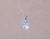 Sterling Silver PENTACLE Pendant and 16 Inch Chain - Delicate, Tiny - Celtic, Pagan, Amulet
