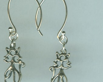 Sterling Silver KITTY KAT - CAT Earrings - French Earwires