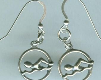 Sterling Silver SWIMMER Earrings - Sports, Teams