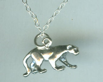 Sterling COUGAR Pendant with Chain - 3D - Cat, Wildlife