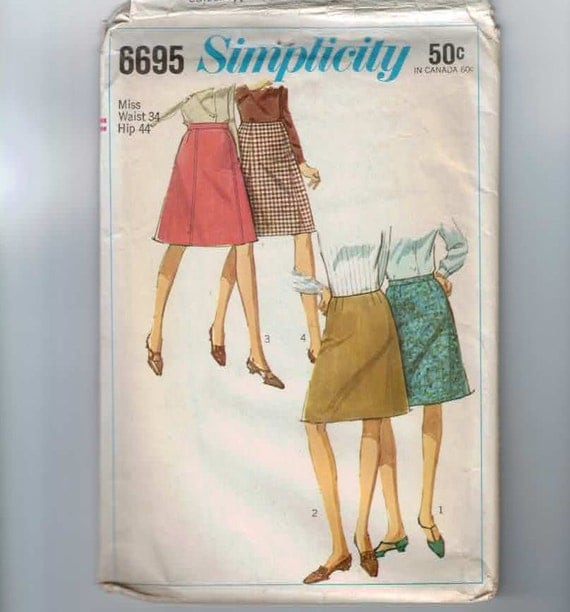 1960s Vintage Sewing Pattern Simplicity 6695 Plus Size A Line Skirt Waist 34 1966