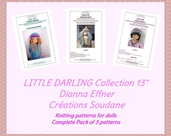 Complete collection pack of 3 PDF KNITTING PATTERNS Little Darling Dianna Effner 13 inches dolls