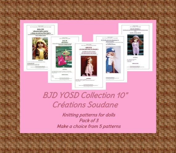 Collection Pack of 3 PDF KNITTING PATTERNS Bjd Yosd Littlefee Boneka 10 inches dolls to choose