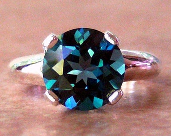 4ct London Blue Topaz, Argentium Sterling Silver Ring, Cavalier Creations