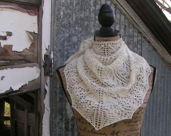 lace scarf handknit knit natural color cashmere merino CASBAH luxury neck casablanca cream