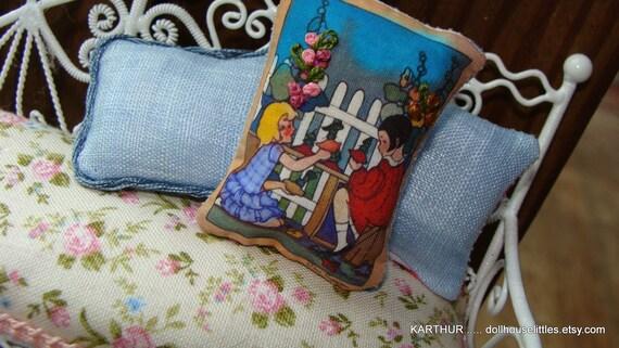 shabby dollhouse miniature embroidery  vintage  pillow
