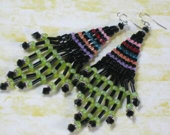 Bugle Seed Bead Chandelier Earrings - Black with Lime Green