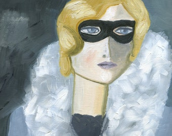 mystery woman - Iris H., incognito.  Limited edition print of an original oil painting by Vivienne Strauss.