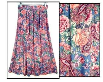 80's vintage FLORAL midi skirt // paisley & roses grunge skirt // pleated full skirt S