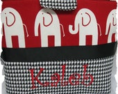 Monogrammed/Personalized Alabama Black and White Hooundstooth Diaper bag