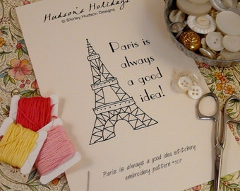 Paris Eiffel Tower Stitchery PDF Pattern - embroidery French retro france sheet easy simple