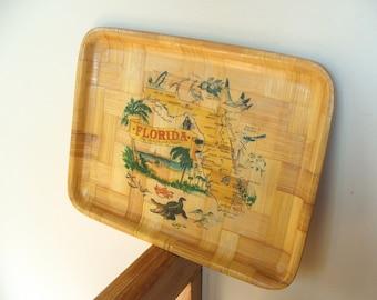 Vintage Souvenir of Florida Bamboo Tray