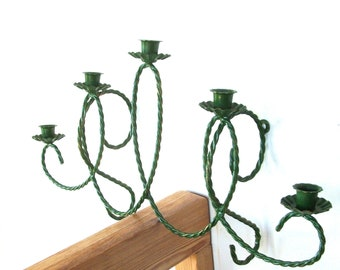 Vintage Green Braided Metal Wall Mount Candelabra