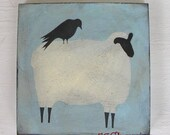 Shabby Sheep Original - Antiqued Prim Sheep with Crow on Blue and Green - Primitive Easter Decor