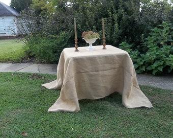 Custom Burlap Tablecloth Handmade Wedding Decorations Table Decor French Country Prairie Farmhouse Custom Tablecloth Floor Length Tablecloth