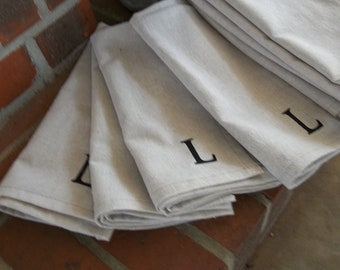 Monogrammed Napkins Dinner Handmade Napkins Organic Fabric Hand Stamped  Initial Your Choice French CountryFarmhouse Set of 6 8 or 12
