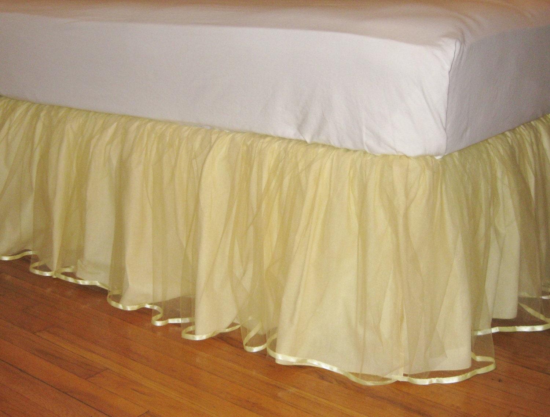 Ready To Ship Crib Size Tulle Bedskirt Lemon Yellow
