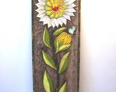 """Hand Carved Flower and Butterfly Wall Sculpture, 36"""" x 12"""""""