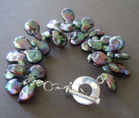 Rich Rainbow Baroque Coin Pearl Peridot Sterling Toggle Clasp Bracelet Cuff - Sample Sale
