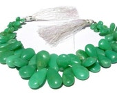 28% Off Sale - 1/2 Strand Genuine Chrysoprase Smooth Pear Briolettes Size 8x6 - 19x10mm approx