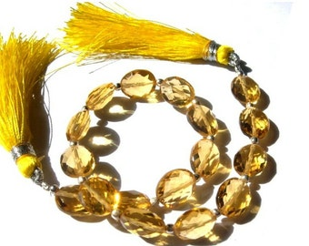 8 Inches - Finest Quality Citrine Quartz Faceted Oval Briolettes Size 10x8mm Approx, High Quality Great Price