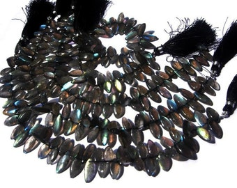 Full 8 Inches - Blue Flashy Genuine Labradorite Smooth Marquise Briolettes Size 6x12- 7x15mm approx, Finest Quality Wholesale Price