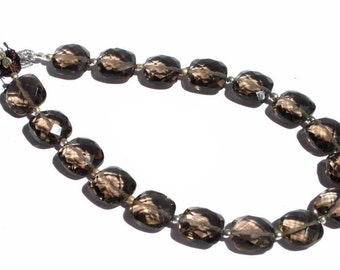 1/2 Strand - Finest Quality AAA Smoky Quartz Faceted Cushion Briolettes Size 10x10mm approx