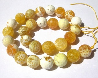 14 Inches - Finest Quality Natural Yellow and white Shaded Agate Faceted Round Beads, Size 14x14mm approx