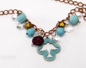 Boho Chic Bluebird Necklace and Earrings