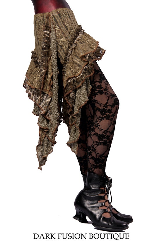 Skirt, Green, Olive, Moss, Lace, Vintage Style, Ruffles, Cabaret, Vaudeville, Steampunk, Wrap, Noir, Gothic, BellyDance