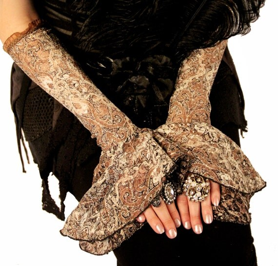 Armwarmers, Creams and Light Browns, Cabaret, Bellydance, Dance, Costume, Tribal, Fusion,