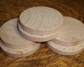 6 Wooden Disks, DRILLED,  for pine needle baskets, etc.