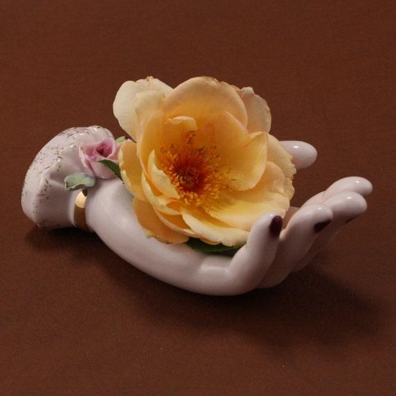 China Ladies Hand Rose Vase  Lipstick Holder Vanity Vtg