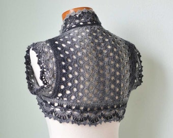Crochet shrug, bolero, lace, grey gray, Size S/M, H801