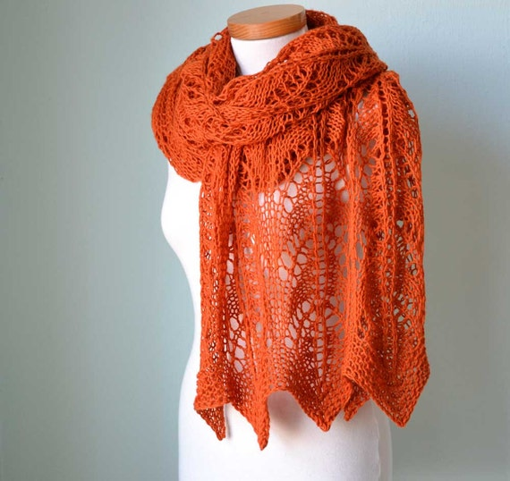 Lace knitted shawl orange  G761