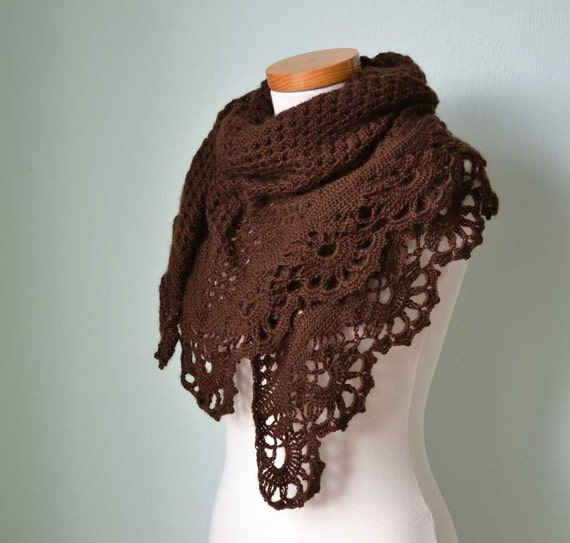 Crochet shawl with royal trim  Chocolate brown H773