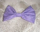 Handmade Boys Men Clip On Bow Tie Girls Hair Bow Lavender White Polka Dot