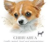 CHIHUAHUA LONGHAIRED dog fabric  - Large Picture on One Fat Quarter Fabric Panel for Quilting and Sewing