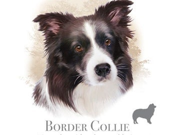 BORDER COLLIE Dog with Phrase on One Fat Quarter Fabric Panel for Quilting and Sewing