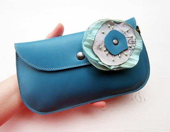 Handmade, Leather clutch Purse, Turquoise, DODIE by Fairysteps 1972