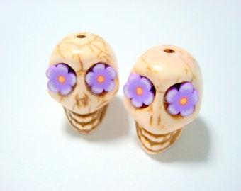 Lavender Flower Eyes Ivory Howlite 18mm Sugar Skull Beads