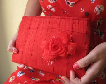 Lipstick Red Clutch - The Lily Viola Clutch, Red silk formal clutch, beaded wedding bag, red carpet accessory, Mother of the Bride bag