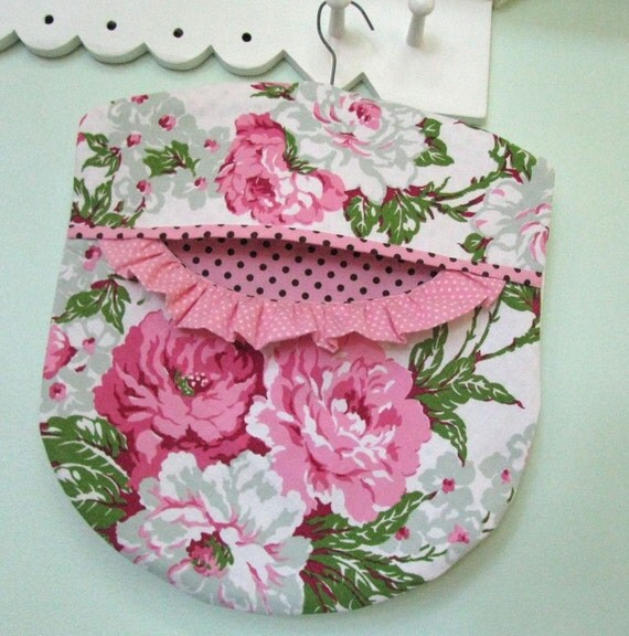Laundry Day Clothes Pin Bag - Wood Hanger - Pink Peonies - Repurposed Vintage Tablecloth