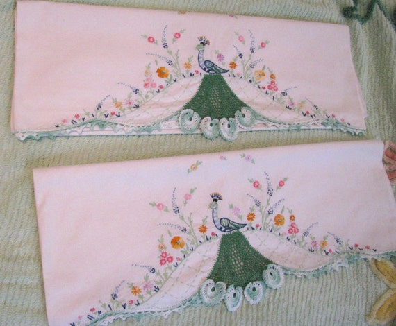 Vintage Pair Pillow Cases - Embroidery Crochet Lace Peacocks and Flowers - Shabby Cottage Chic