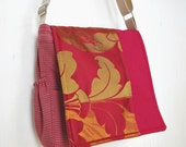 Upcycled red purse: Midas Touch Hobo