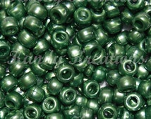 100 Jade Dark Green Pearl colored 6x9mm 9mm pony beads for kandi raver crafts beading lacing jewelry and cuffs hair braids bird toy parts