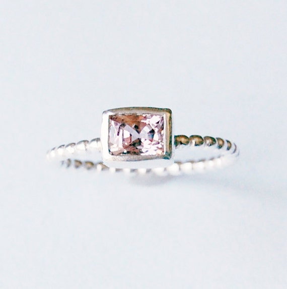 Silver and Emerald Cut Pink Spinel/Morganite Ring In your size