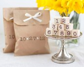 Handcrafted Rubber Stamp Set of Numbers - Wood Mounted - Great for Wedding Crafts Save-the-Dates Birthday Cards and More