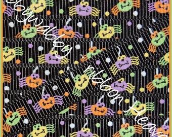 "3/8"" Spider Halloween Grosgrain Ribbon 5 Yards - TWRH"