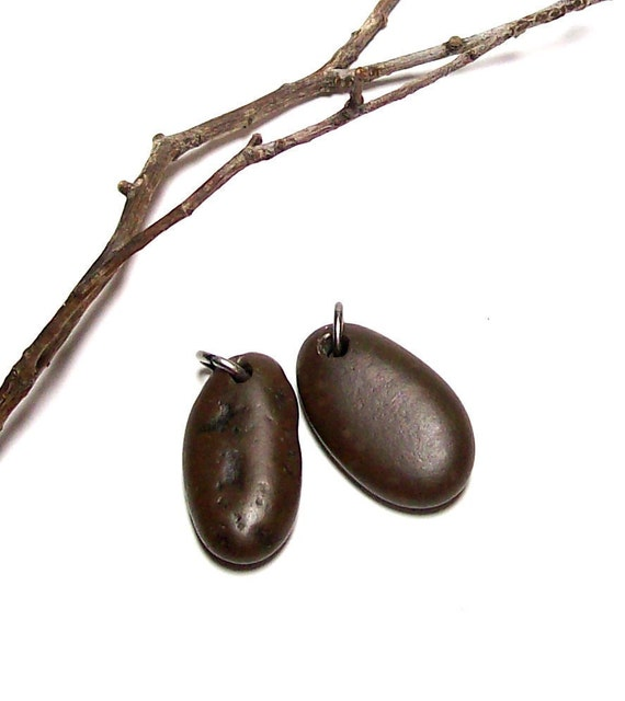 "Beach Stones Pebbles Pair for Earrings - Genuine Drilled Dangle beads  ""Sable"" by StoneMe"